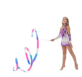 Image of gorgeous gymnast performs with ribbon Stock Photo