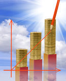 Image of graphics finance growth against coins background Stock Photography