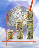 Image of graphics finance growth against money closeup Stock Photos