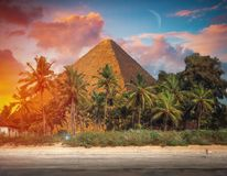 Pyramids of Giza, in Egypt. Image of the great pyramids of Giza, in Egypt Stock Photo