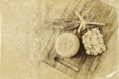 Image of greek cheese , bulgarian cheese and milk on wooden table over wooden textured background. Symbols of jewish holiday - Sha Royalty Free Stock Photos