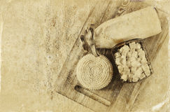 Image of greek cheese , bulgarian cheese and milk on wooden table over wooden textured background. Symbols of jewish holiday - Sha Stock Photo