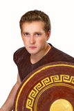 Image of the Greek warrior with a shield Royalty Free Stock Image