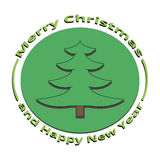 Image of green Christmas tree on Christmas and New Year. On a white background Royalty Free Stock Images