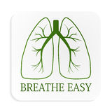 Image of green lungs on white button Royalty Free Stock Images