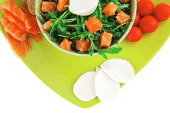 Image of green salad with smoked salmon Stock Image