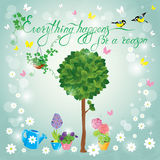 Image with green tree, flowers in pots and birds. On sky blue background. Design for Birthday Invitation card. Calligraphic text Everything happens for a reason Royalty Free Stock Images