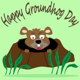 Image of groundhog looking out of the hole with a greens around at the light green background. And written words Happy Groundhog day Stock Photo