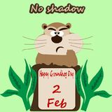 Image of groundhog looking out of the hole with a greens around at the light green background. And written words No Shadow Stock Photography