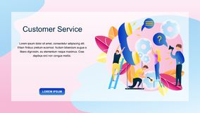 Image Group People Customer Service Online Store. Banner Vector Illustration Telephone Operator Online Shopping Store. Department Technical Support Client stock illustration