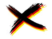 Cross german colors. An image of a grunge cross in german colors Stock Photo