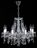 Image of grunge dark room interior with chandelier. Chrystal chandelier close-up. Luxury Glass Chandelier on white background Stock Photography