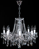 Image of grunge dark room interior with chandelier. Chrystal chandelier close-up. Luxury Glass Chandelier on white background Stock Photo