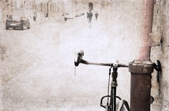 Image in grunge style, bicycle Stock Images
