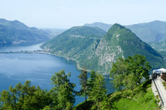 Image of the Gulf of Lugano from Monte Bre Royalty Free Stock Images