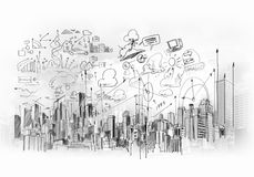 Image with hand drawings Royalty Free Stock Photo