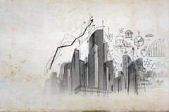 Image with hand drawings Royalty Free Stock Photos
