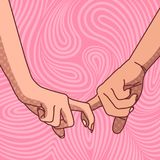 The image of the hands of a young couple interlocked with index fingers. Vector illustration Stock Photo