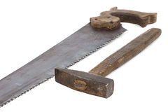 Image of handsaw and hammer Stock Photos