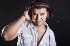 Image of handsome male DJ Royalty Free Stock Image