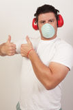 Image of a handy man showing two thumbs-up. Image of a handy man showing wo thumbs up Stock Photo