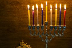 Image of the Hanukkah Jewish holiday with a menorah. And burning candles Stock Image