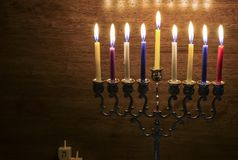 Image of the Hanukkah Jewish holiday with a menorah. And burning candles Stock Images