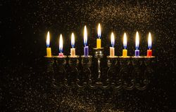 Image of the Hanukkah Jewish holiday with a menorah. And burning candles Stock Photography