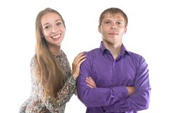Image of happy blond woman and man Stock Photography