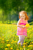 Image of happy child on dandelions field, cheerful little girl r Stock Photos