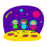 Image of happy children. Space journey to the Moon Royalty Free Stock Photography