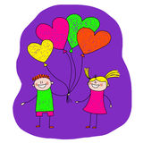 Image of happy couple with heart shaped balloons Royalty Free Stock Photography