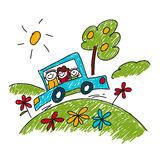 Image of happy family. Car travel. Kids drawing Royalty Free Stock Images