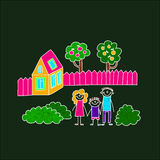 Image of happy family with children. Colorful image on blackboard. Happy family. Kids drawing Stock Photography