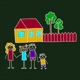 Image of happy family with children. Colorful image on blackboard. Happy family. Kids drawing Royalty Free Stock Images