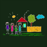 Image of happy family with children. Colorful image on blackboard. Happy family. Kids drawing Royalty Free Stock Photo