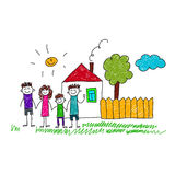 Image of happy family with house. Kids drawing Royalty Free Stock Photography
