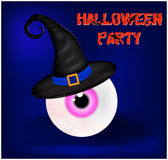 Image of Happy Halloween spooky background flat design with sign Halloween party. Vector illustration of invitation card with scar. Y bloody eyeball in witch hat Stock Images
