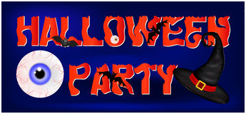 Image of Happy Halloween spooky background flat design with sign Halloween party. Vector illustration of invitation card with scar. Y bloody eyeball in witch hat Stock Image