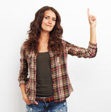 Image of happy smiling beautiful young woman showing copyspace o Stock Image