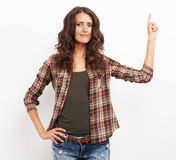 Image of happy smiling beautiful young woman showing copyspace o Stock Photo
