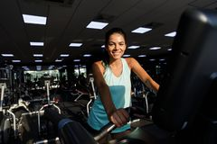 Image of happy sports woman doing fitness exercise royalty free stock photos
