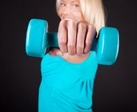 Image of happy sportswoman during training Royalty Free Stock Photos