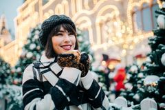 Image of happy woman on walk on street royalty free stock photos