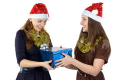 Image of happy women with the gift Stock Photo