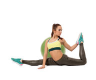 Image of harmonous girl doing fitness exercise Stock Images