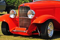 Abstract background close-up front old red hot rod car royalty free stock photography