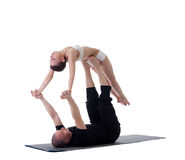 Image of healthy couple posing in yoga position Stock Image