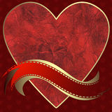 Image of heart on a red background Royalty Free Stock Photography