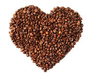 Image of heart shaped roasted coffee beans isolated on white Stock Images